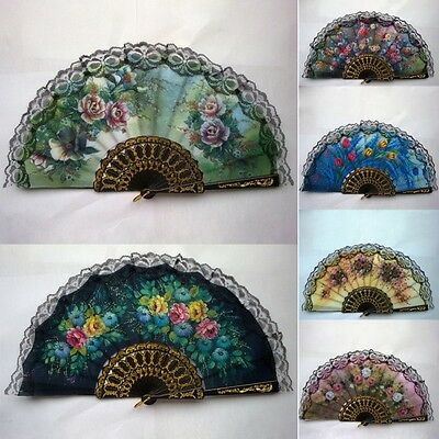 UK Vintage Luxury Fabric Hand Held Fans Floral Folding Fans Ball Party Decor