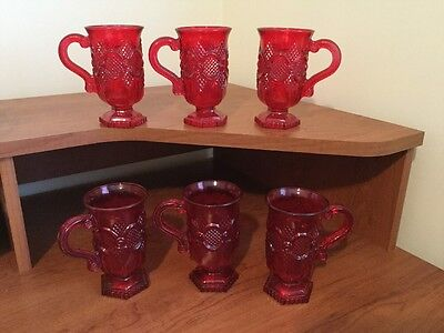 Vintage Set Of Six Ruby Red Mugs