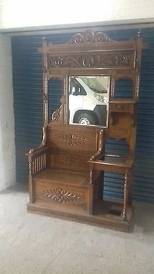 Antique Oak Hall stand coat/hat/umbrella with box seat with lid, hand carved