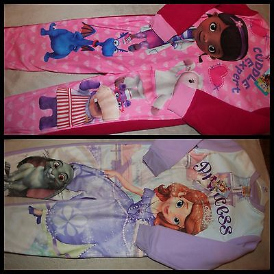 Girls Official DOC McSTUFFINS  SOFIA THE FIRST Fleece Sleepsuits  NWT 18-24 Mths