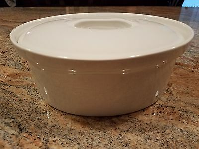 Apilco White Porcelain Oval Covered Baking Ovenware Casserole Dish France #9