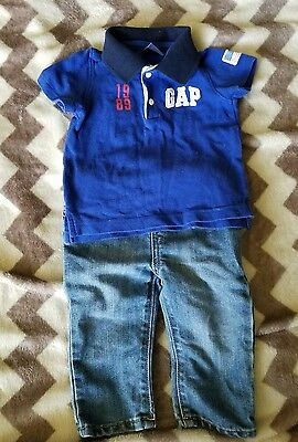 Baby boy gap shirt size 3-6 months and children's place skinny jeans 6-9 months
