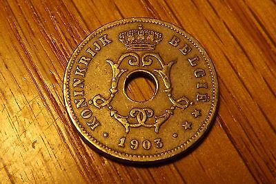 BELGIUM 1903 Circulated Condition 10 Centimes (COIN #195) as Pictured