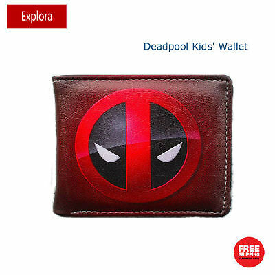 Boys Girls Kids Teenage Biofold PU Leather Wallet -- Deadpool Logo