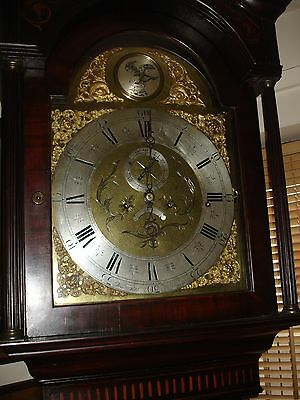 19th CENTURY MARQUETRY CASE BRASS DIAL 8 BELL MUSICAL  LONGCASE CLOCK  (COURIER)