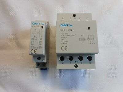 Chint Installation Contactor Din Rail Mounted 2 And 4 Pole 230V 20A And 63A