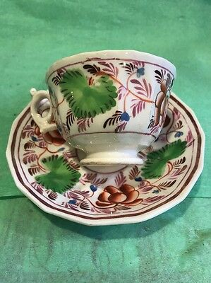 A 19th Century Pink Lustre Gaudy Welsh? Beautiful Teacup And Saucer