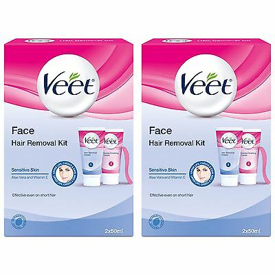 2 x Veet Face Lip Chin Facial Hair Removal Kit Sensitive Skin Remover 2 x 50ml