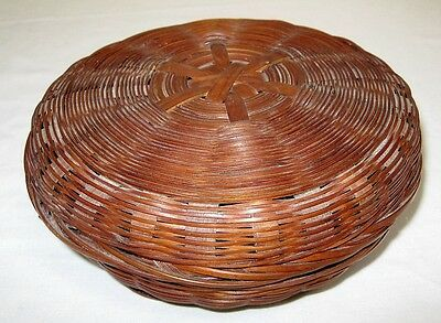 """Antique Chinese Covered Sewing Basket Small 6"""" Wicker Reed w/ Paper Label"""