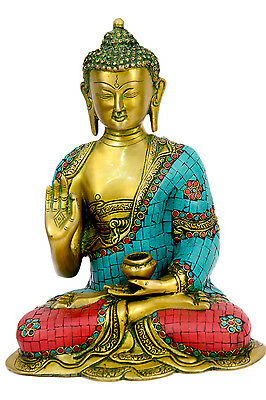 Brass statue of sitting Buddha handicrafts product by BharatHaat™BH00637
