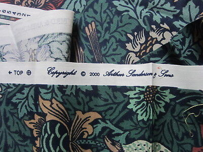 Vintage William Morris Sanderson  Curtain Fabric Remnants 'Bird & Anenome'