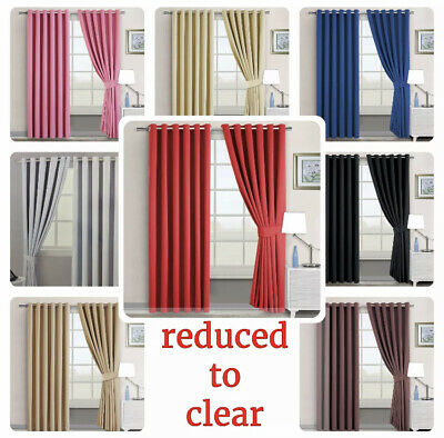 REDUCED TO CLEAR Luxury THERMAL BLACKOUT CURTAINS Eyelet Ring Top READY MADE