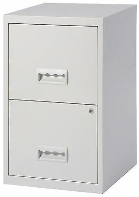 2 Drawer A4 Metal Steel Lockable Filing Draw Cabinet - Grey 650H x 400Wx 400D mm