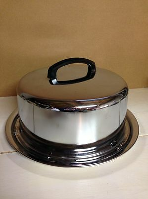 """Vintage Stainless Steel Locking Cake Carrier 13"""" Made in U.S.A."""