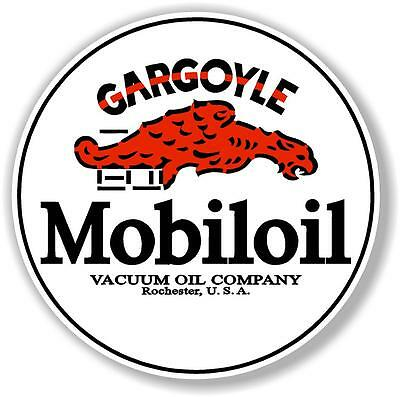 "8"" round MOBIL MOBILOIL GARGOYLE DECAL OIL CAN GAS PUMP GASOLINE"