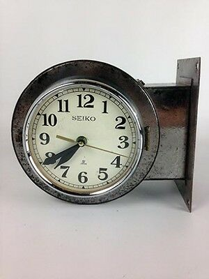 Vintage Polished Steel Ship's Round Double-Sided Clock