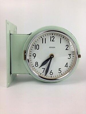 Vintage Steel Ship's Double-Sided Clock – Original Green