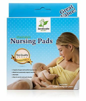 Washable Organic Bamboo Nursing Pads w/ FREE BONUS LAUNDRY BAG 8 Pack(4 pairs)