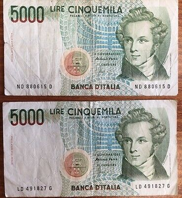 Italy 1985  5000 Lire Listing Is For 2 Circulated Bank Notes Italia