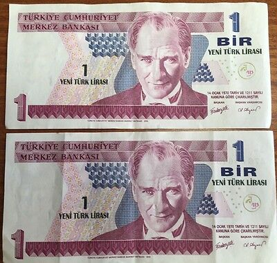 Turkey Banknote 1 Bir Listing For 2 Notes Almost Sequential Great Condition