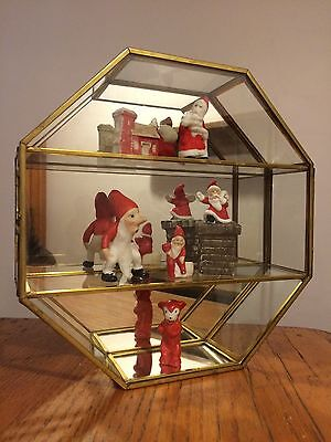 Vtg Brass & Glass Octagon Miniature Curio Display Table Top Cabinet