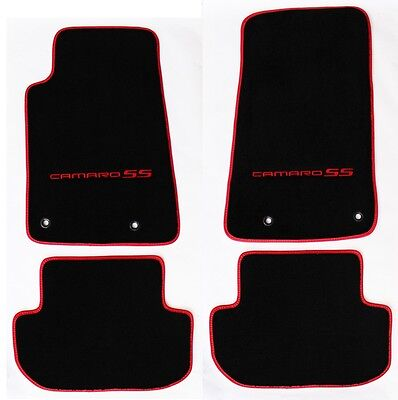 NEW Ebony Floor Mats 2010-2015 Camaro Embroidered Logo RS in Red w// red binding