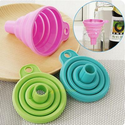 Mini Silicone Practical Collapsible Foldable Funnel Hopper Kitchen Cooking Tools