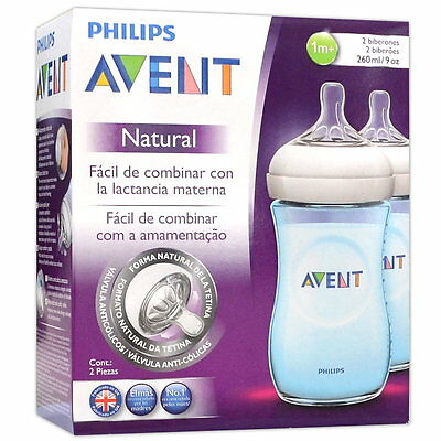 2x 260ml Avent Babyflaschen Set Natural SCF695/27 BLAU Anti Kolik Sauger Gr. 2