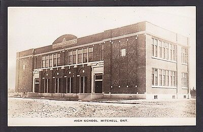 Circa 1915 - 1930 Real Photo RPPC Postcard High School MITCHELL Ontario Canada