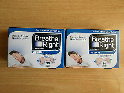 2 X 30 (60) Breathe Right Original Nasal Strips Large