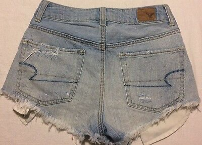 American Eagle Outfitters High Rise Womens Denim Blue Jean Shorts Size 00 Sz