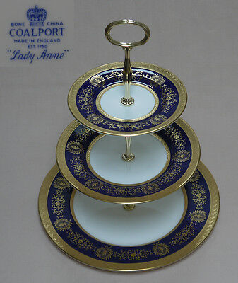 "Coalport ""Lady Anne"" (Cobalt Blue) THREE TIER CAKE STAND"