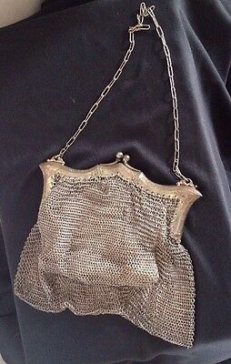 Antique German Silver Mesh Ornate Frame Purse Victorian Evening Bag