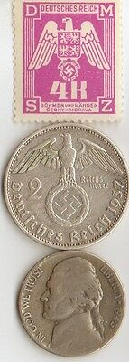 -*WW2 -  SILVER  - *us   and - *german coin/stamp++