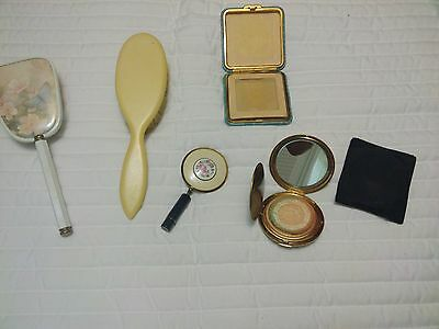 Lot of Vintage hair Brush Vanity Mirror Blush Secret Lipstick