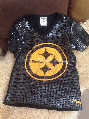 •Victoria's Secret PINK NFL Pittsburgh Steelers allover sequin jersey Size Xs/S•