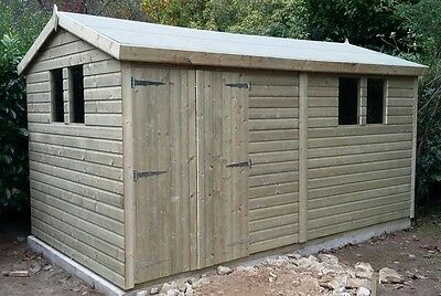 12x8 19mm Tanalised pressure treated T&G apex shed workshop extra height