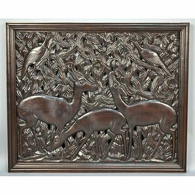 Large Carved African Congo Mid Century Modern Wall Panel of Antelope & Birds