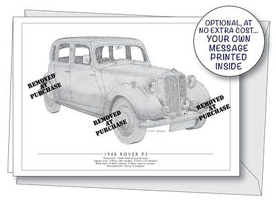 Rover P3 1948 greetings card