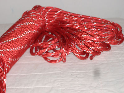 """Double Braid Polyester 3/8""""x 150 feet yacht braid halyard line red white tracers"""