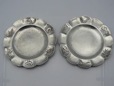 Vintage Mexican Sterling Silver Set of 2 Small Hand Engraved Plates
