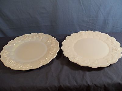 2 Westmoreland Paneled Grape Milk Glass Dinner Plates - 1 Mother of Pearl