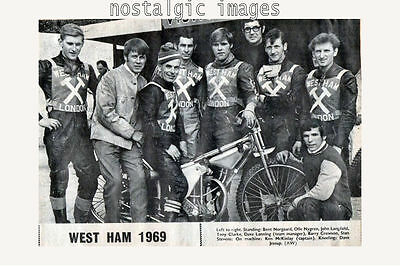 Photo Taken From A 1969 Newspaper Cutting  Of The West Ham  Speedway Team