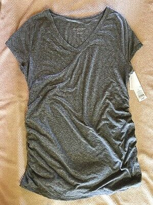 NEW Liz Lange Maternity Top Short Sleeve Heather Gray Large