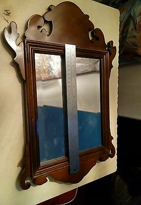 Old Wooden Wall Hanging Carved Bevelled Hall Mirror 1900s