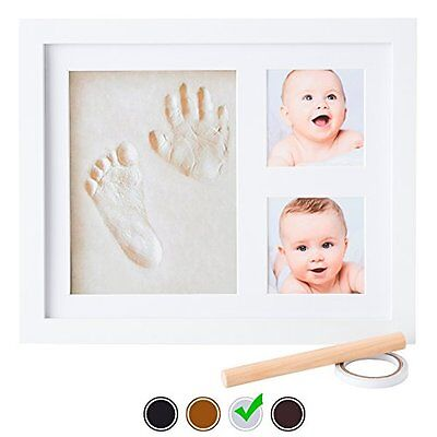 Baby Handprint Kit by Little Hippo - Baby Picture Frame (WHITE) & Non Toxic CLAY