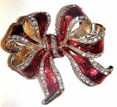 ~~ Macy's Holiday Lane Red & Gold Rhinestone Christmas Bow Brooch Pin ~~