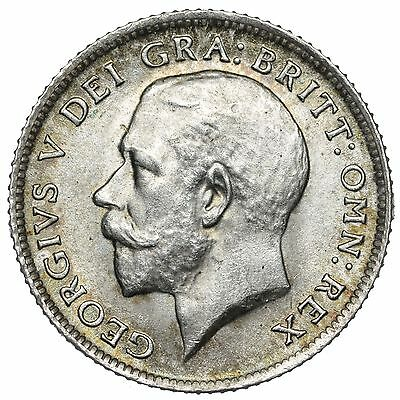 1915 Sixpence - George V British Silver Coin - Superb