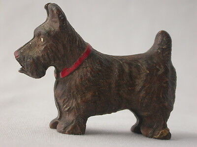 Vintage Brown Scottie Scottish Terrier Dog Figurine w/ Open Mouth Syrocco–like