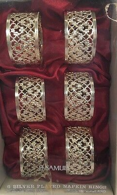 vintage made in england silver plated napkin rings with box